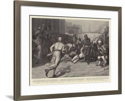 A Scramble for the Khedive's Backsheesh, a Scene at the Procession of the Holy Carpet Through Cairo-Sydney Prior Hall-Framed Giclee Print