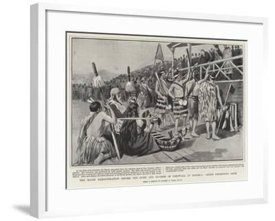 The Maori Demonstration before the Duke and Duchess of Cornwall at Rotorua, Chiefs Presenting Gifts-Sydney Prior Hall-Framed Giclee Print