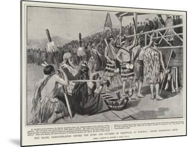 The Maori Demonstration before the Duke and Duchess of Cornwall at Rotorua, Chiefs Presenting Gifts-Sydney Prior Hall-Mounted Giclee Print