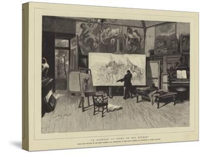 A Painter at Work in His Studio-Sir John Gilbert-Stretched Canvas Print
