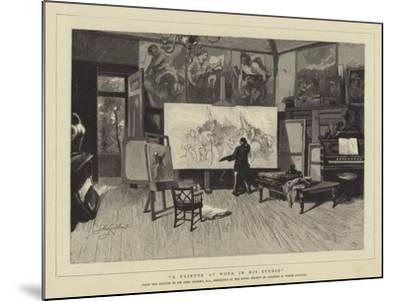 A Painter at Work in His Studio-Sir John Gilbert-Mounted Giclee Print