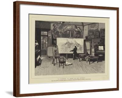 A Painter at Work in His Studio-Sir John Gilbert-Framed Giclee Print