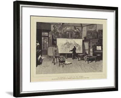 A Painter at Work in His Studio-Sir John Gilbert-Framed Giclee Print