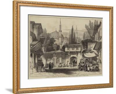 A Street in Constantinople, with the Fountain and Mosque of Sultan Achmet-Thomas Allom-Framed Giclee Print