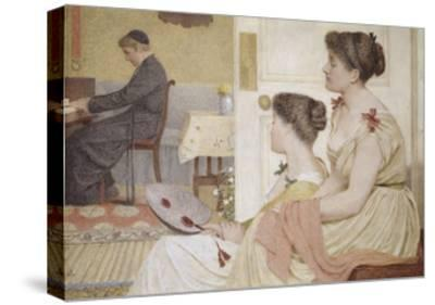 Drawing Room Scene with a Young Priest at the Piano-Thomas Armstrong-Stretched Canvas Print