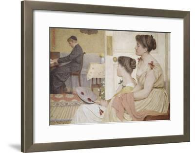 Drawing Room Scene with a Young Priest at the Piano-Thomas Armstrong-Framed Giclee Print