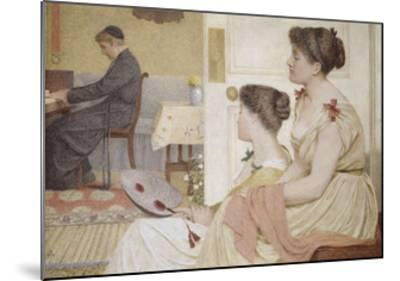 Drawing Room Scene with a Young Priest at the Piano-Thomas Armstrong-Mounted Giclee Print