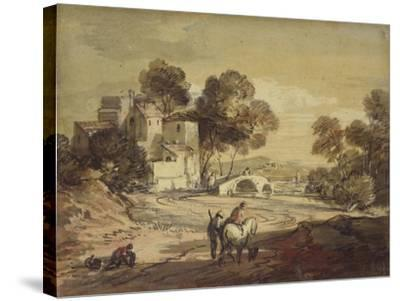Italianate Landscape with Travellers on a Winding Road-Thomas Gainsborough-Stretched Canvas Print