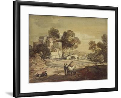 Italianate Landscape with Travellers on a Winding Road-Thomas Gainsborough-Framed Giclee Print