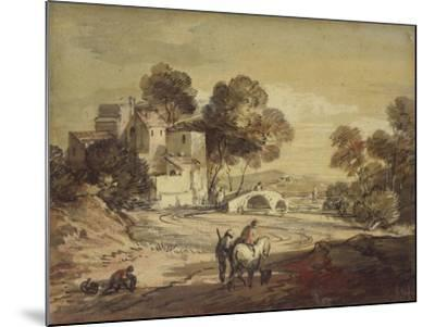 Italianate Landscape with Travellers on a Winding Road-Thomas Gainsborough-Mounted Giclee Print