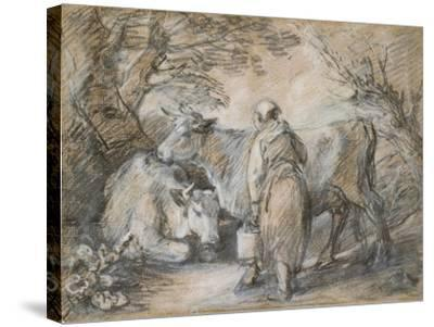 Milkmaid with Two Cows (Black Chalk and Stump Heightened with White-Thomas Gainsborough-Stretched Canvas Print