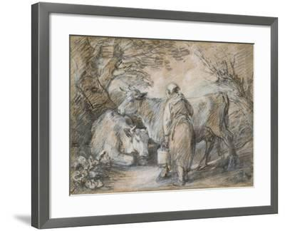 Milkmaid with Two Cows (Black Chalk and Stump Heightened with White-Thomas Gainsborough-Framed Giclee Print
