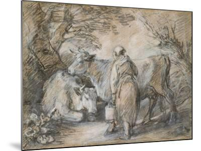 Milkmaid with Two Cows (Black Chalk and Stump Heightened with White-Thomas Gainsborough-Mounted Giclee Print