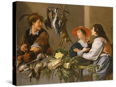 Game and Vegetable Sellers-Theodor Rombouts-Stretched Canvas Print