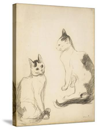 The Two Cats; Les Deux Chats-Theophile Alexandre Steinlen-Stretched Canvas Print