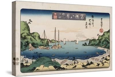 Returning Ships, Kanazawa', from the Series 'Eight Views of Famous Places'-Toyokuni II-Stretched Canvas Print