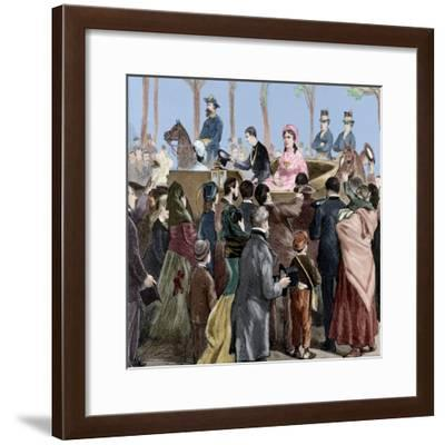 Isabella II of Spain (1830-1904) Arriving to Madrid, 1876-Tomás Capuz Alonso-Framed Giclee Print