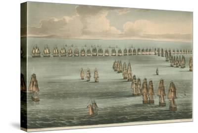 Commencement of the Battle of Trafalgar, 1805-Thomas Whitcombe-Stretched Canvas Print