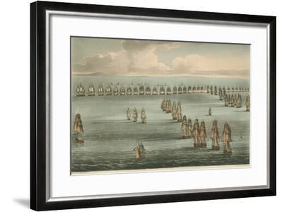 Commencement of the Battle of Trafalgar, 1805-Thomas Whitcombe-Framed Giclee Print