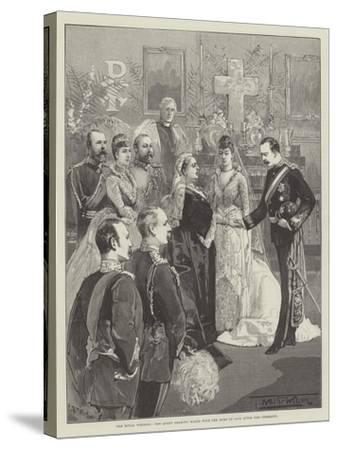 The Royal Wedding, the Queen Shaking Hands with the Duke of Fife after the Ceremony-Thomas Walter Wilson-Stretched Canvas Print