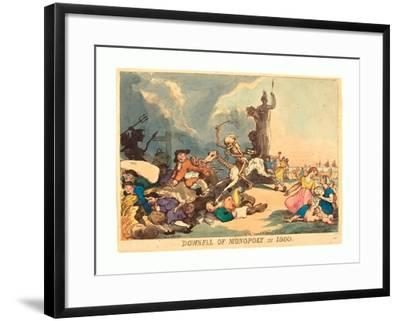 Downfall of Monopoly in 1800, Published 1800, Hand-Colored Etching, Rosenwald Collection-Thomas Rowlandson-Framed Giclee Print