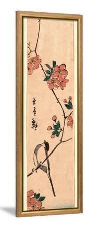 Kaido Ni Shokin-Utagawa Hiroshige-Framed Stretched Canvas Print