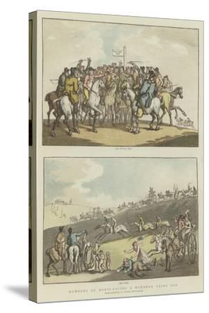 Humours of Horse-Racing a Hundred Years Ago-Thomas Rowlandson-Stretched Canvas Print