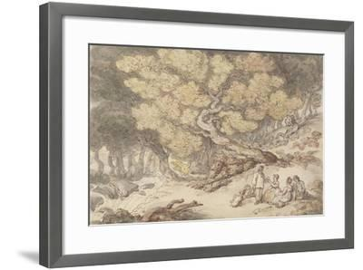 A Woodcutter's Picnic-Thomas Rowlandson-Framed Giclee Print