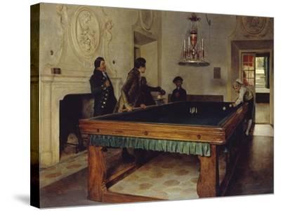 Game of Billiards, 1893-Tito Lessi-Stretched Canvas Print