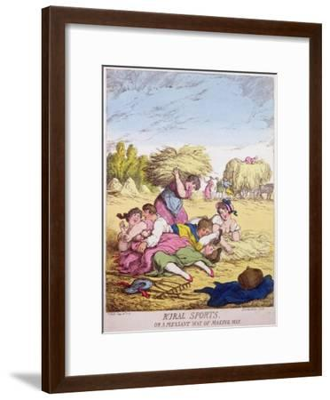 Rural Sports or a Pleasant Way of Making Hay, 1814-Thomas Rowlandson-Framed Giclee Print