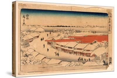 Yoshiwara Yuki No Asa-Utagawa Hiroshige-Stretched Canvas Print