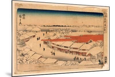 Yoshiwara Yuki No Asa-Utagawa Hiroshige-Mounted Giclee Print