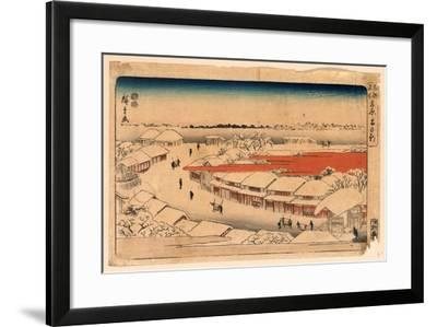 Yoshiwara Yuki No Asa-Utagawa Hiroshige-Framed Giclee Print
