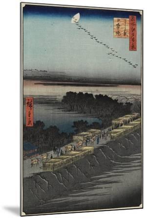 Nihon Embankment, Yoshiwara, April 1857-Utagawa Hiroshige-Mounted Giclee Print