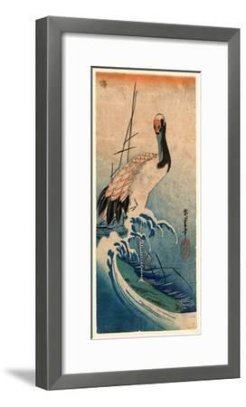 Nami Ni Tsuru, Crane in Waves. [Between 1833 and 1835], 1 Print : Woodcut, Color ; 37.4 X 16.5-Utagawa Hiroshige-Framed Giclee Print