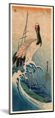 Nami Ni Tsuru, Crane in Waves. [Between 1833 and 1835], 1 Print : Woodcut, Color ; 37.4 X 16.5-Utagawa Hiroshige-Mounted Giclee Print