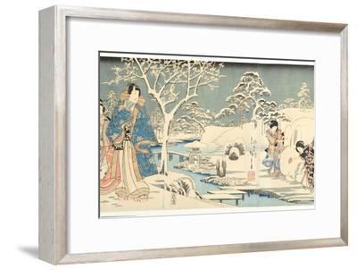 An Eastern Genji in a Snowy Garden, 1854-Utagawa Hiroshige & Kunisada-Framed Giclee Print