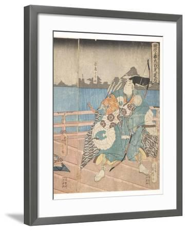 Tawara No Tota Defeating the Centipede, 1850-51-Utagawa Kunimaro-Framed Giclee Print