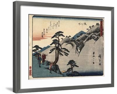 View of the Fudesute Mountain in Sakanoshita, 1837-1844-Utagawa Hiroshige-Framed Giclee Print
