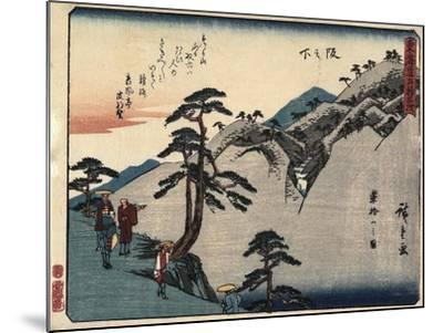 View of the Fudesute Mountain in Sakanoshita, 1837-1844-Utagawa Hiroshige-Mounted Giclee Print