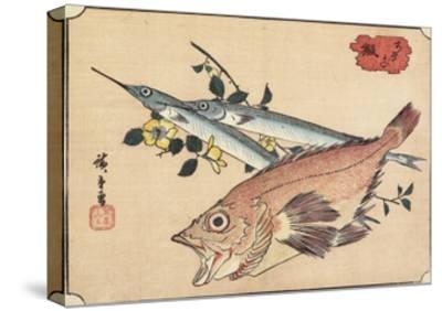 Rockfish and Halfbeak, Early 19th Century-Utagawa Hiroshige-Stretched Canvas Print