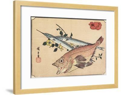 Rockfish and Halfbeak, Early 19th Century-Utagawa Hiroshige-Framed Giclee Print
