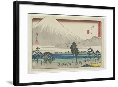 Kashiwahara Rest Area by the Pond with View of Mt. Fuji, Hara, 1841-1842-Utagawa Hiroshige-Framed Giclee Print