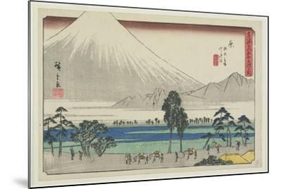 Kashiwahara Rest Area by the Pond with View of Mt. Fuji, Hara, 1841-1842-Utagawa Hiroshige-Mounted Giclee Print