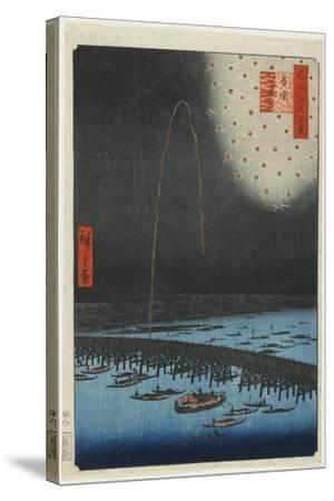 Fireworks at Ryo Goku Bridge, 1858-Utagawa Hiroshige-Stretched Canvas Print