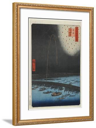 Fireworks at Ryo Goku Bridge, 1858-Utagawa Hiroshige-Framed Giclee Print
