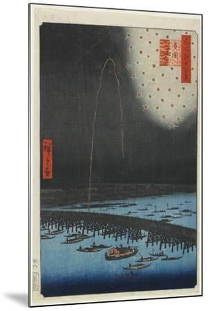 Fireworks at Ryo Goku Bridge, 1858-Utagawa Hiroshige-Mounted Giclee Print