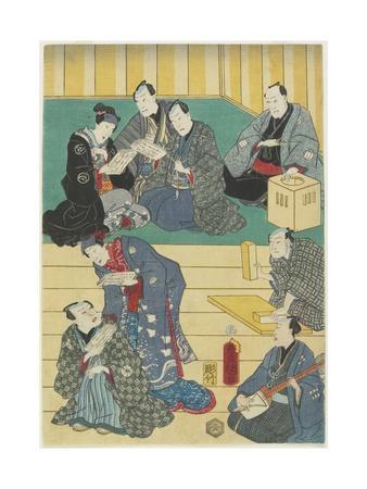 Rehearsal of a Kabuki Play, September 1860-Utagawa Kunisada-Framed Giclee Print