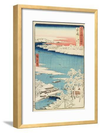 Morning after Snow at Sumida River in Musashi Province, August 1853-Utagawa Hiroshige-Framed Giclee Print