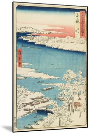 Morning after Snow at Sumida River in Musashi Province, August 1853-Utagawa Hiroshige-Mounted Giclee Print